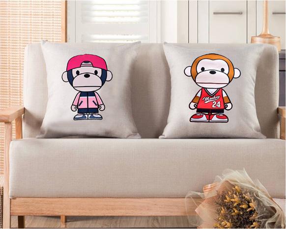 可爱猴棉麻抱枕被