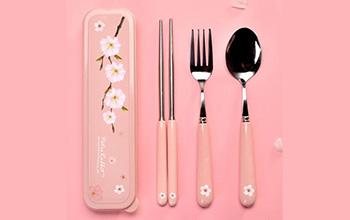 比得兔樱花不锈钢便携餐具