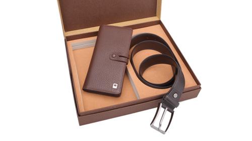 【红谷】男士单链夹包+皮带礼盒套装
