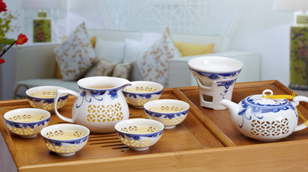 薄胎玲珑茶具十件套