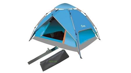 露营装备3-4人双层三用自动玻杆帐篷蓝色