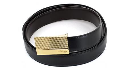 S.T.Dupont法国都彭钻石菱角饰纹钯金板扣皮带6990120G