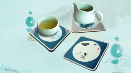 西湖墨韵之荷花茶杯垫(单个)