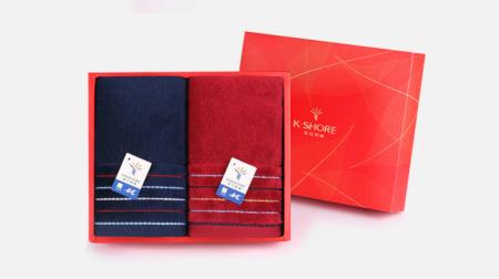 金号真彩毛巾、面巾二条礼盒装(深蓝/红)