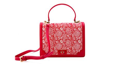 宋锦女士拎包 BWS6007红米色缠枝纹.红色