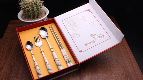家和富贵荷花餐具四件组(荷花勺)