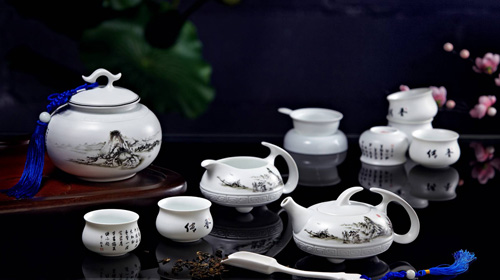 羊脂玉瓷水墨茶具12件套