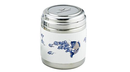 宏图(金鱼)陶瓷不锈钢茶叶罐