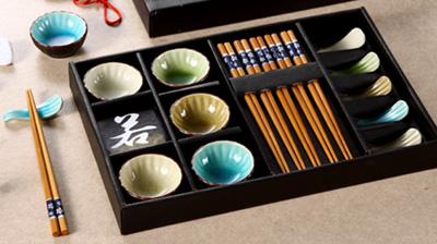 竹筷子、陶瓷架、陶瓷碟子餐具套装