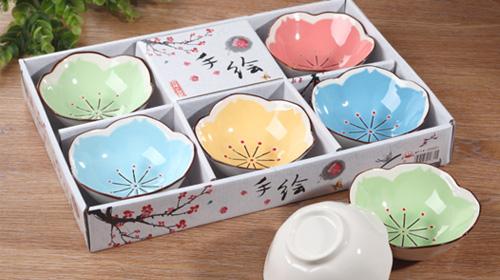 手绘陶瓷碗5只装