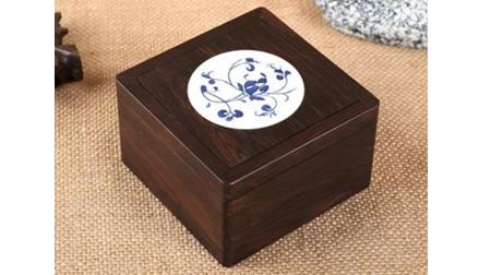 黑檀,青花瓷收纳盒