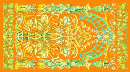 橙色花苑女士丝巾