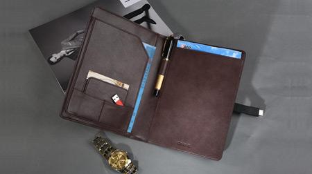 A级牛皮休闲笔记本、经理夹