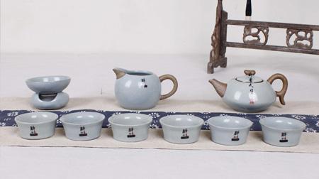 宝石蓝和乐融融汝窑茶具