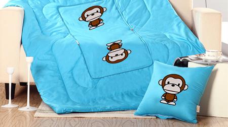 潮猴全棉贴布绣抱枕被