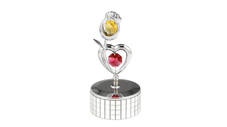 施華洛世奇元素 心與玫瑰—鏡面小音樂盒