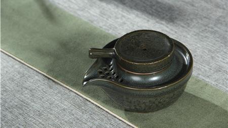 青釉 手抓壶茶具套组10入