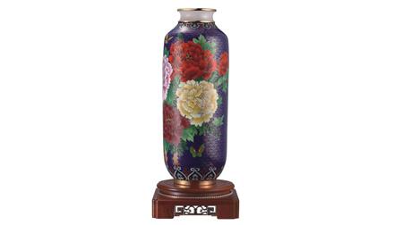 景泰蓝镶玉青云直上花瓶