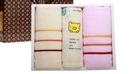 洁丽雅毛巾亲子三条装礼盒