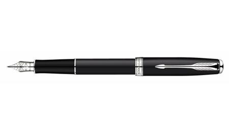 派克08卓尔磨砂黒杆白夹墨水笔