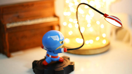 漫威正版 美国队长公仔LED灯 锂电池充电小夜灯 男生礼物圣诞新年 上海礼物