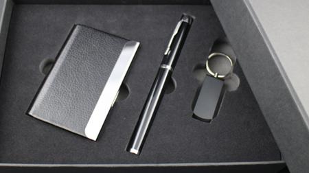 商务三件装优盘+签字笔+名片盒
