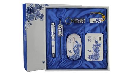 青花六件套(真瓷笔+4GU盘+鼠标+书签+钥匙扣+5000毫安移动电源)