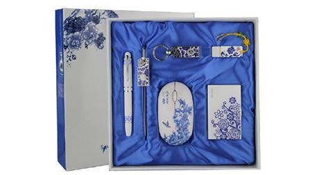 青花瓷六件套(烤漆笔+U盘+鼠标+书签+钥匙扣+名片夹)